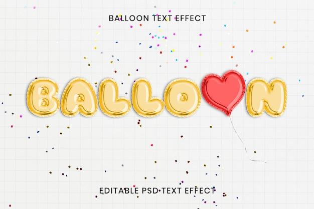 Plantilla editable psd de efecto de texto de globo de fiesta