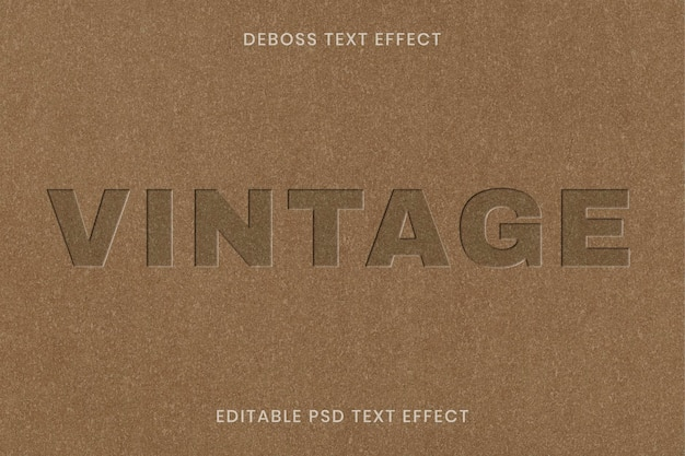 Plantilla editable psd de efecto de texto grabado sobre fondo de textura de papel kraft