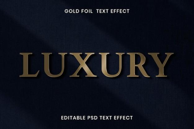 Plantilla editable psd de efecto de texto de hoja de oro