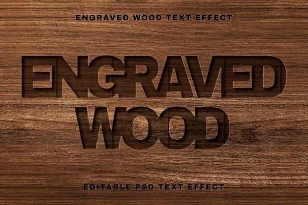 Plantilla editable psd de efecto de texto de madera grabada