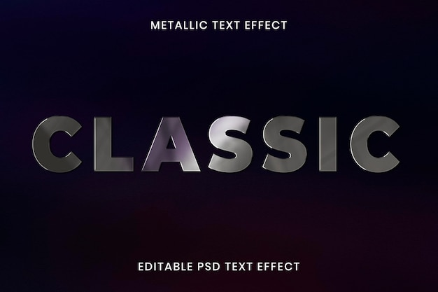 Plantilla editable psd de efecto de texto metálico