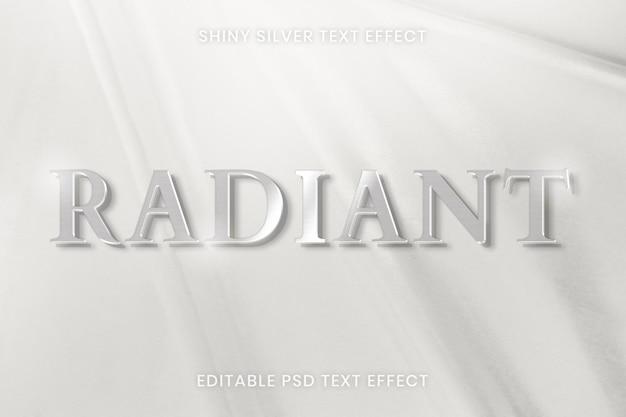 Plantilla editable psd de efecto de texto plateado brillante