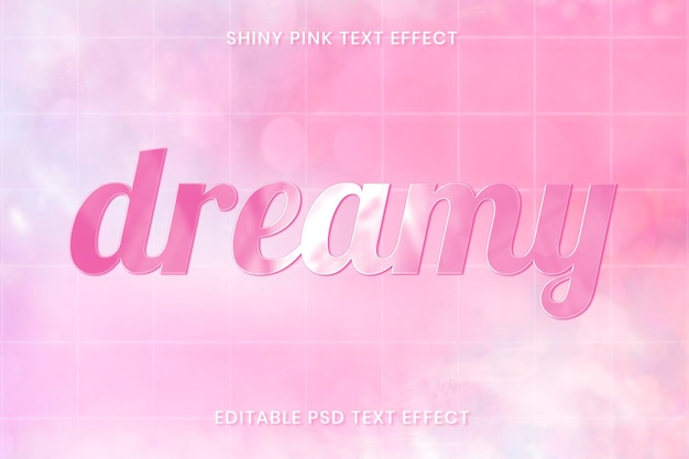 Plantilla editable psd de efecto de texto rosa brillante