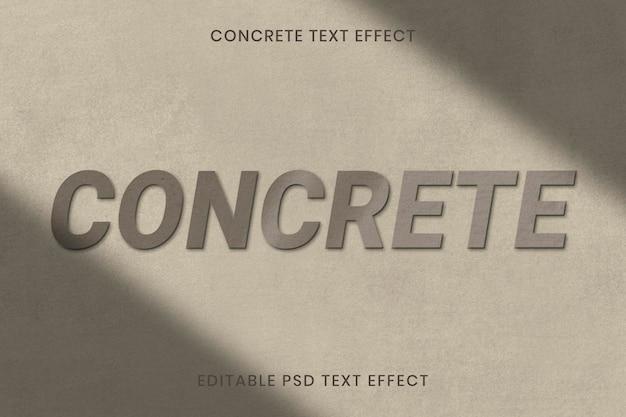 Plantilla editable psd de efecto de texto de textura de hormigón