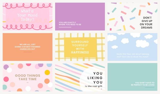 Plantilla editable psd en lindos fondos pastel con textos inspiradores