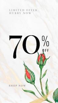 Plantilla editable de rosa roja psd con 70% de descuento en texto