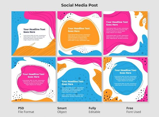 Plantilla editable social post banner diseño minimalista forma abstracta simple y colorida con forma fluida y líquida