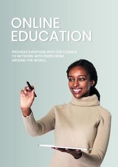 Plantilla de educación en línea psd tecnología futura