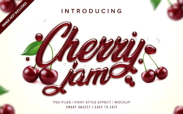 Plantilla de efecto de estilo de fuente 3d cherry jam