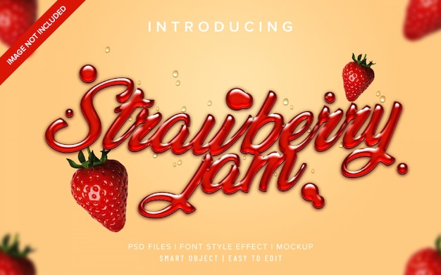 Plantilla de efecto de estilo de fuente 3d de mermelada de fresa