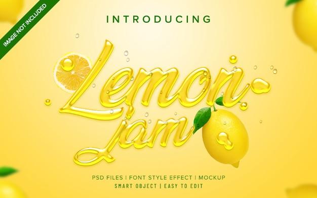 Plantilla de efecto de estilo de fuente de mermelada de limón 3d