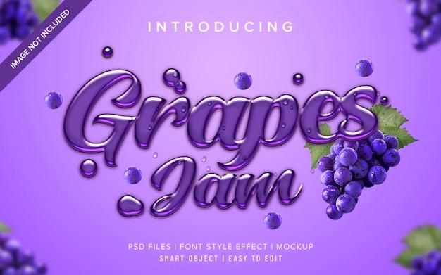 Plantilla de efecto de estilo de fuente de mermelada de uvas 3d
