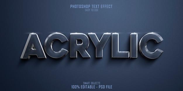 Plantilla de efecto de estilo de texto 3d acrílico de material brillante