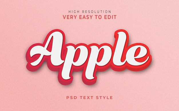 Plantilla de efecto de estilo de texto 3d de apple