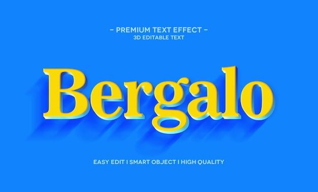 Plantilla de efecto de estilo de texto 3d de bergalo