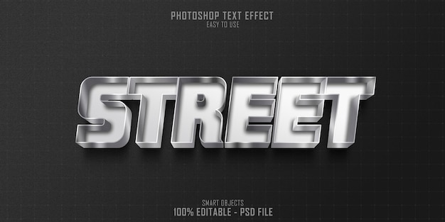 Plantilla de efecto de estilo de texto 3d de calle gris platino