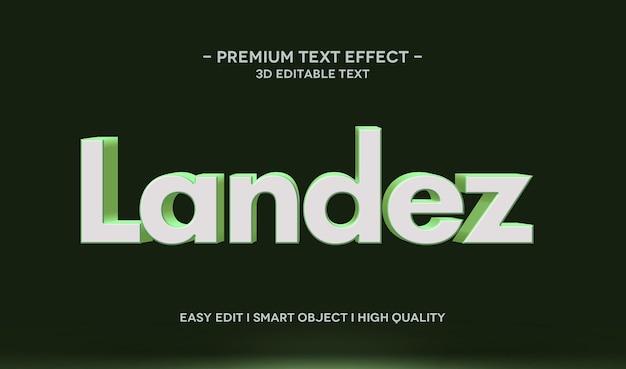 Plantilla de efecto de estilo de texto 3d landez