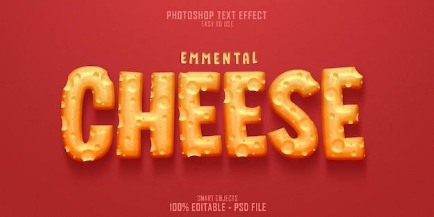 Plantilla de efecto de estilo de texto 3d de queso emmental