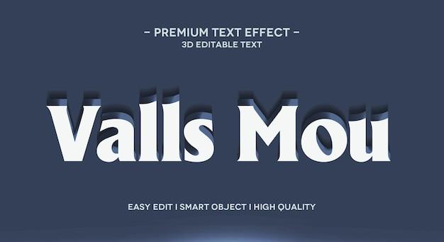 Plantilla de efecto de estilo de texto 3d de valls mou
