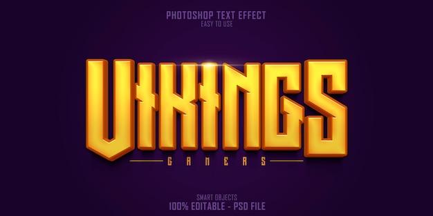 Plantilla de efecto de estilo de texto 3d de vikings gamers