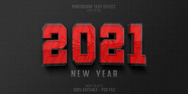 Plantilla de efecto de estilo de texto de año nuevo 2021