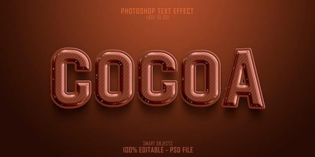 Plantilla de efecto de estilo de texto cocoa 3d