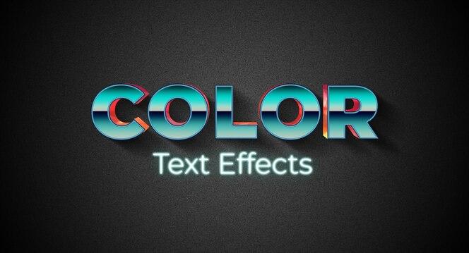 Plantilla de efecto de estilo de texto en color