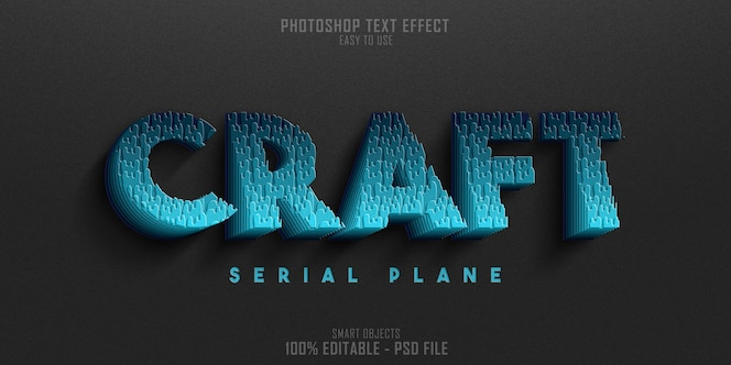 plantilla de efecto de estilo de texto craft serial plane 3d