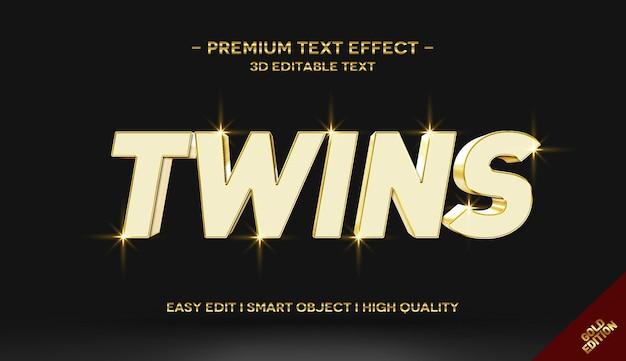 Plantilla de efecto de estilo de texto dorado twins 3d