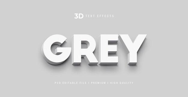 Plantilla de efecto de estilo de texto gris 3d