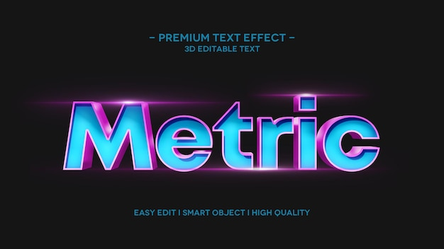 Plantilla de efecto de estilo de texto métrico 3d