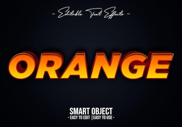 Plantilla de efecto de estilo de texto naranja 3d