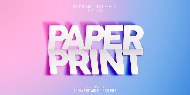 Plantilla de efecto de estilo de texto de paper print 3d