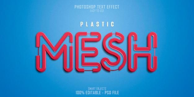 Plantilla de efecto de estilo de texto de plastic mesh 3d