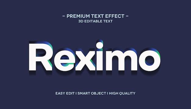 Plantilla de efecto de estilo de texto reximo 3d