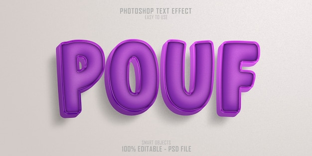 Plantilla de efecto de estilo de texto de silla de puf