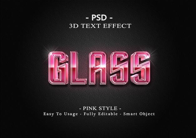 Plantilla de efecto de estilo de texto de vidrio rosa 3d