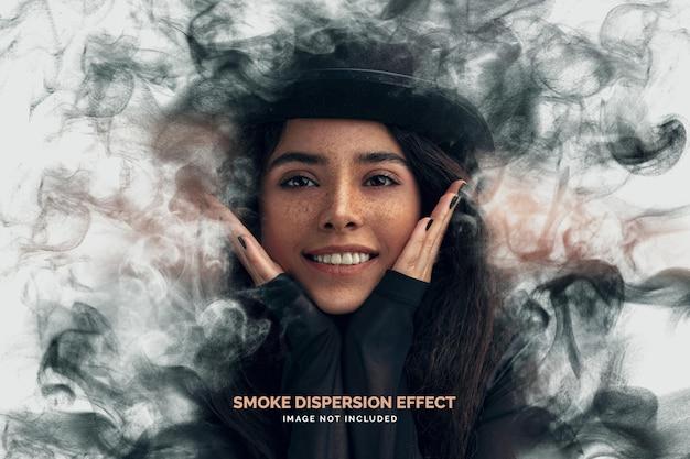 Plantilla de efecto fotográfico de dispersión de humo