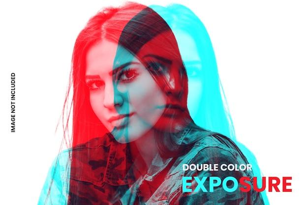 Plantilla de efecto fotográfico de doble exposición a color