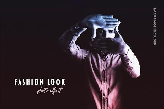 Plantilla de efecto fotográfico de look de moda