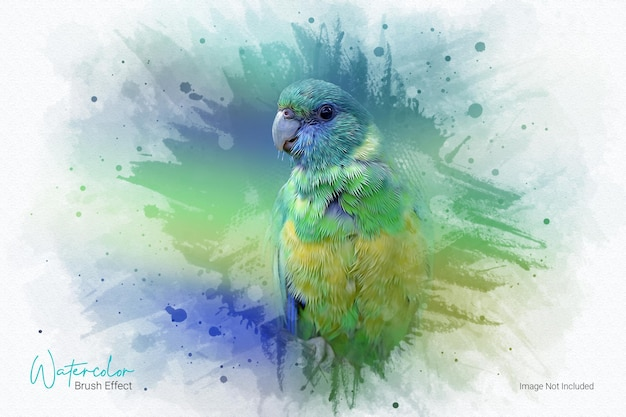Plantilla de efecto fotográfico de pintura al óleo de acuarela