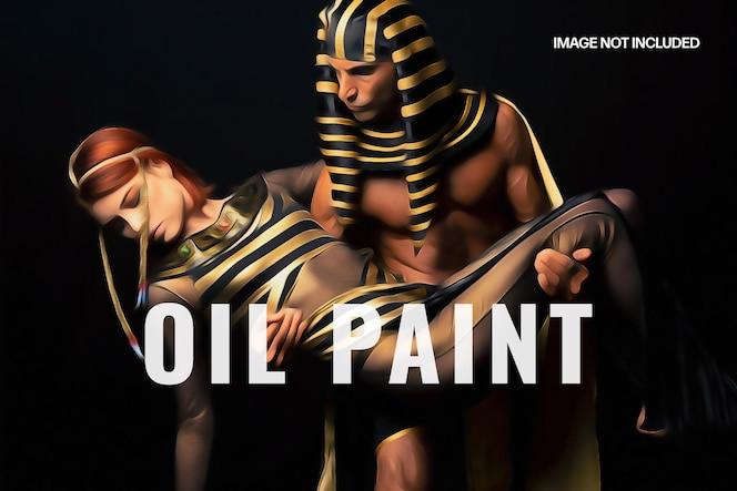Plantilla de efecto fotográfico de pintura al óleo