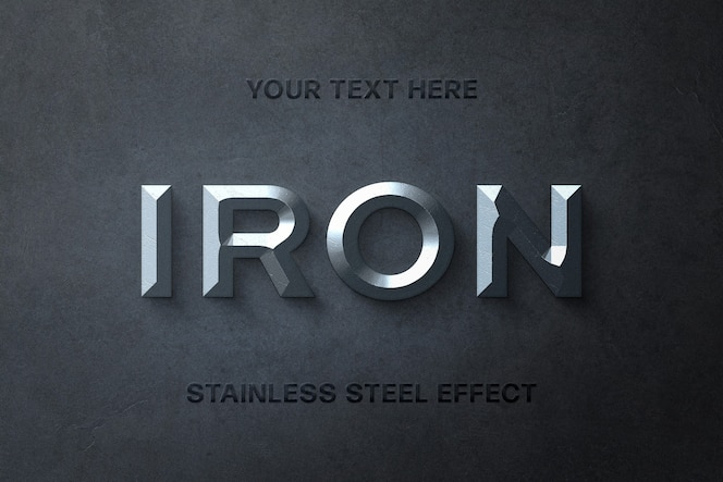 Plantilla de efecto de texto 3d de acero