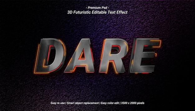Plantilla de efecto de texto 3d dare