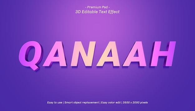 Plantilla de efecto de texto 3d qanaah