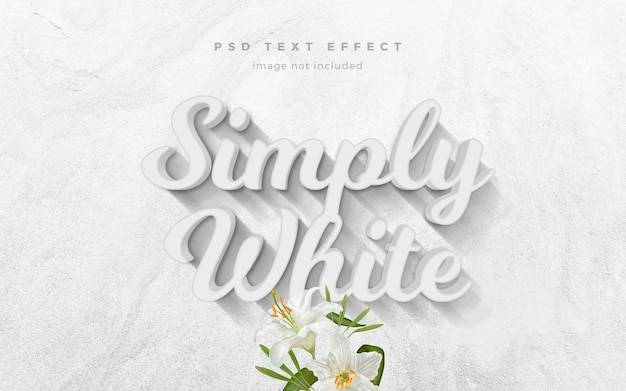 Plantilla de efecto de texto 3d simplemente blanco