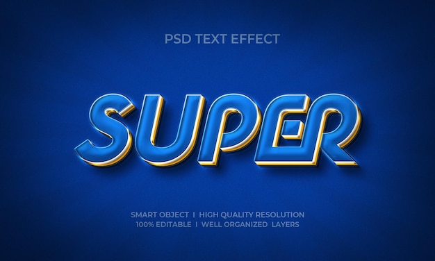 Plantilla de efecto de texto 3d super elegante