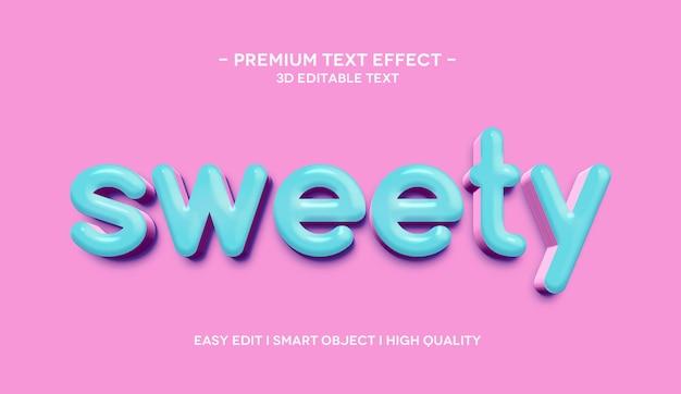 Plantilla de efecto de texto 3d sweety