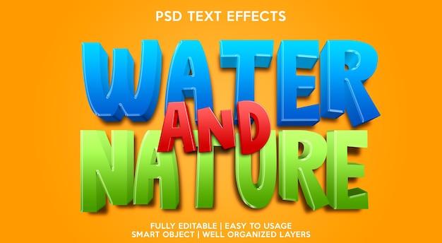 Plantilla de efecto de texto de agua y naturaleza