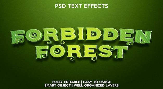 Plantilla de efecto de texto de bosque prohibido